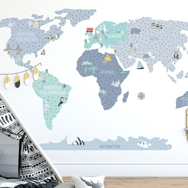 Niebieska mapa edukacyjna Pastelowe Love