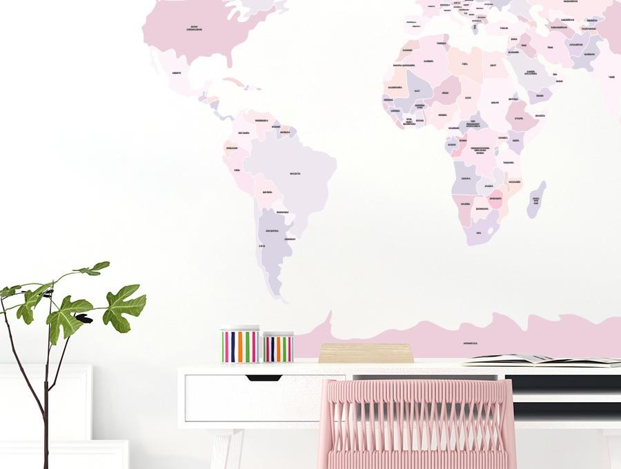 Różowa mapa na ścianę - naklejka firmy Pastelowe Love