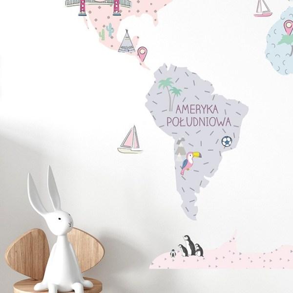 Różowa mapa naklejka edukacyjna na ścianę Pastelowe Love