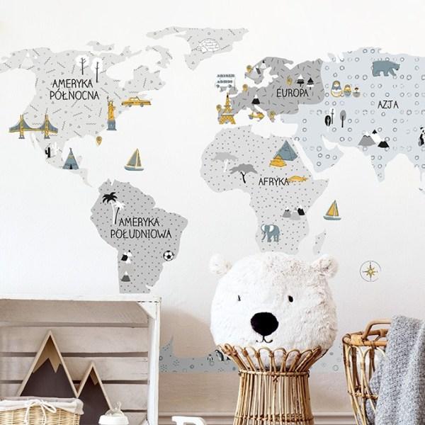 Szara mapa naklejka edukacyjna na ścianę Pastelowe Love