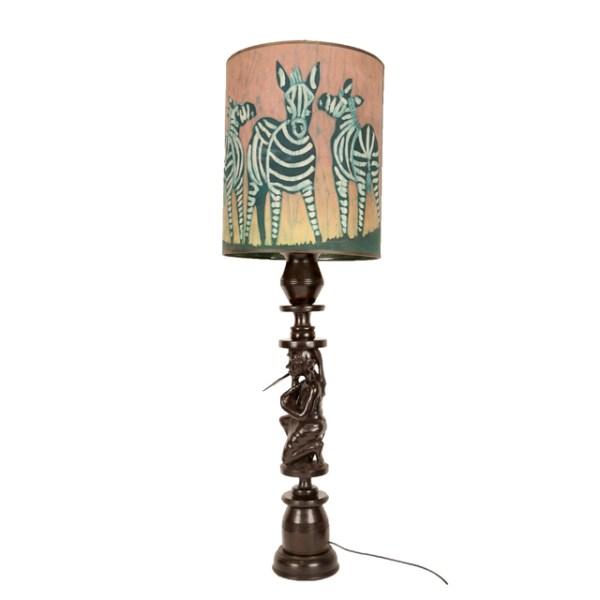 Tanzańska lampa z motywem zebry i Masaja