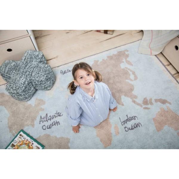 Dywan bawełniany World Map vintage - dywany inspirowane podróżami