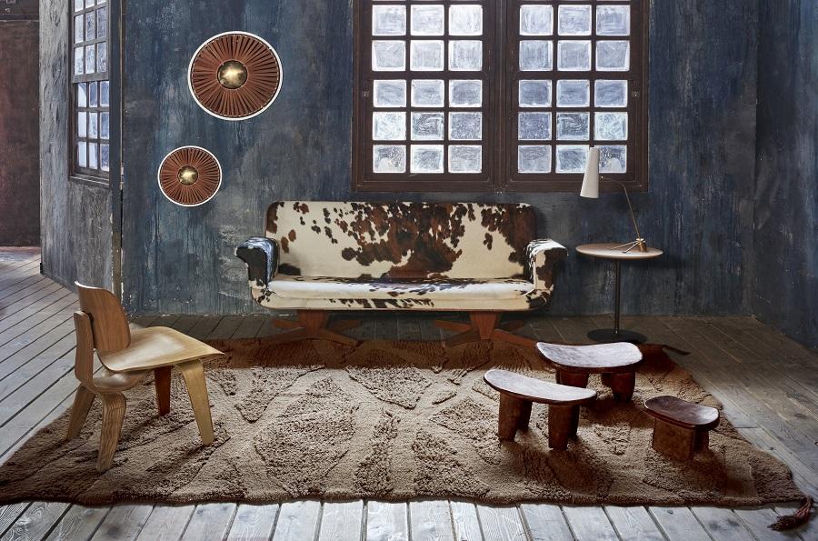 Wełniany dywan inspirowany drewnem afrykańskiej akacji - piękne wnętrze w afrykańskim stylu