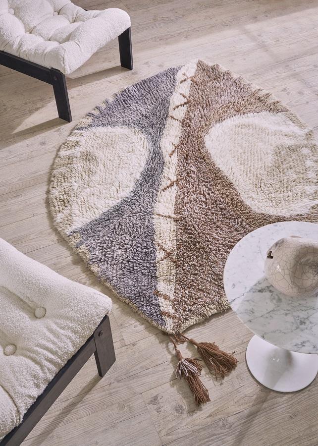 Wełniany dywan z motywem afrykańskiej tarczy - Afryka w Twoim domu