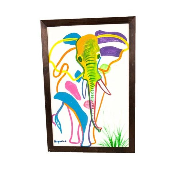 Afrykański obraz z pastelowym słoniem