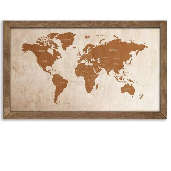 Drewniana mapa świata w dębowej ramie - dekoracja na ścianę w kolorze orzech