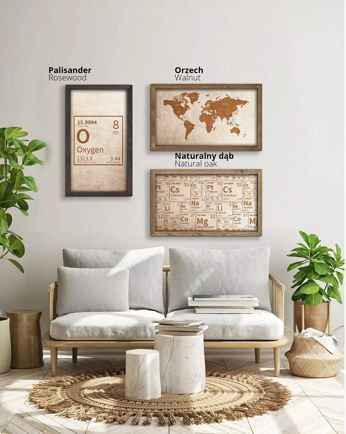 Drewniana mapa świata w dębowej ramie - dekoracja na ścianę - wizualizacja