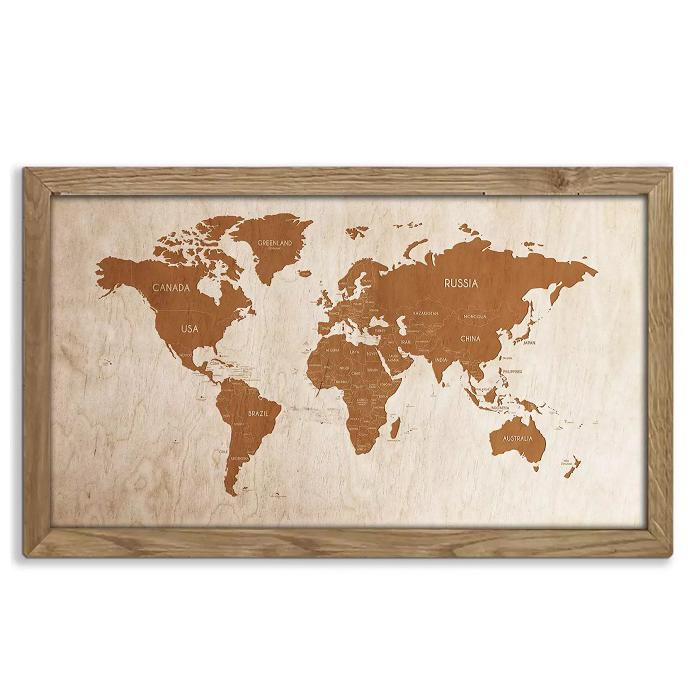 Drewniana mapa świata w dębowej ramie - dekoracja na ścianę