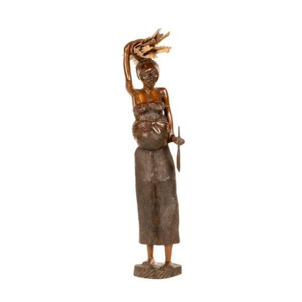 Malawijska drewniana rzeźba kobiety niosącej drewno