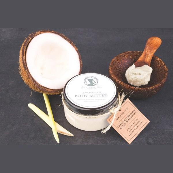 Afrykańskie masło do ciała z olejem kokosowym, trawą cytrynową i algami morskimi