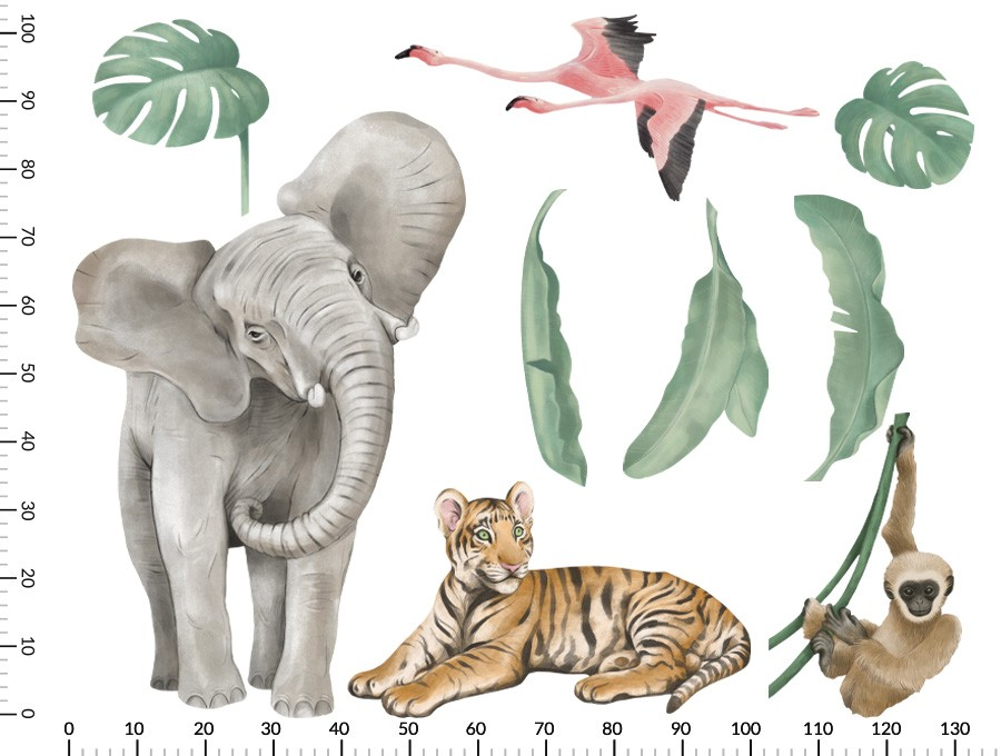 Kolorowa naklejka z afrykańskimi zwierzętami na ścianę - wymiery