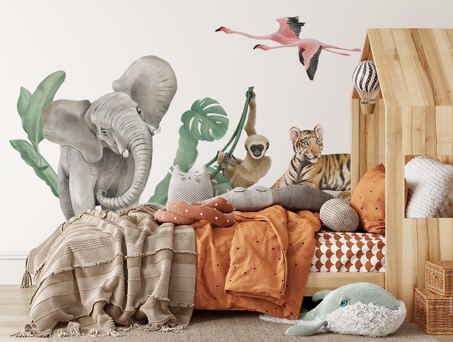Kolorowa naklejka z afrykańskimi zwierzętami na ścianę