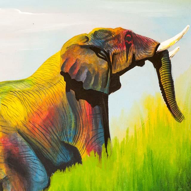 Obraz Tinga Tinga ze słoniami z Tanzanii