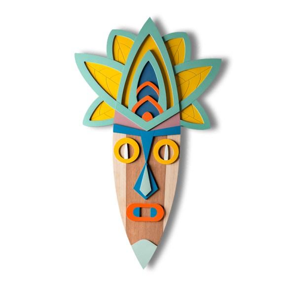 Oryginalna maska dekoracyjna z drewna Surfing Onion