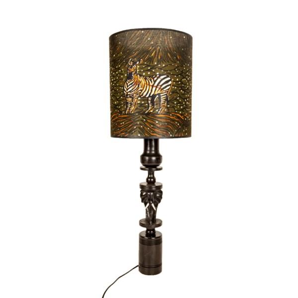 Brązowa lampa afrykańska z zebrami