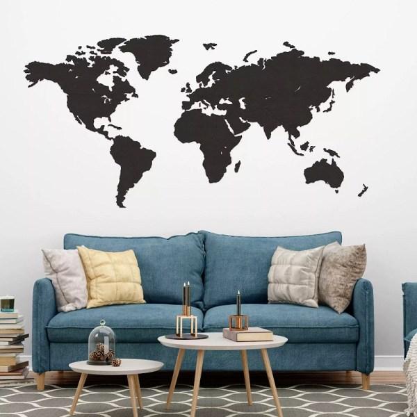 Drewniana mapa świata na ścianę - palisander