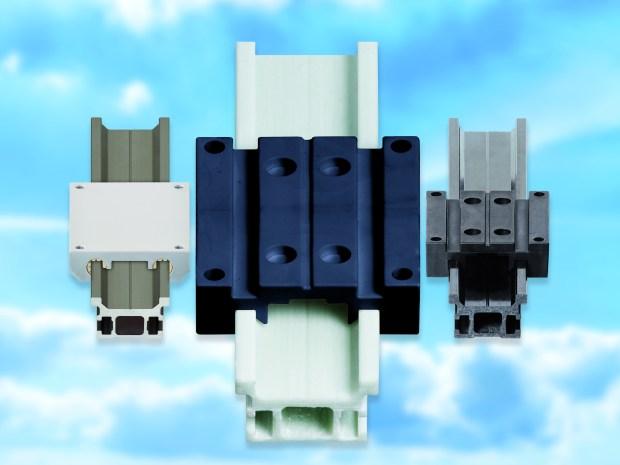 Od lewej do prawej: od aluminium i GRP po włókno węglowe, firma igus oferuje prowadnice liniowe z różnych tworzyw, dzięki którym można zmniejszyć masę całej konstrukcji. (Źródło: igus GmbH)
