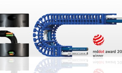 Dwóm produktom od igus: modułowi obrotowemu CRM oraz e-prowadnikowi o higienicznej konstrukcji została w tym roku przyznana nagroda Red Dot w zakresie projektowania produktów. (Źródło: igus GmbH).