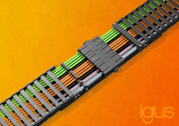 Prosta koncepcja modułowa umożliwia konfigurację pojedynczych złączy modułowych. Akcesoria, takie jak płyty montażowe, etykiety, elementy zamykające oraz różne systemy montażu przewodów umożliwiają złączom modułowym połączenie się w kompletny łańcuch modułu wtykowego. (Źródło: igus GmbH)
