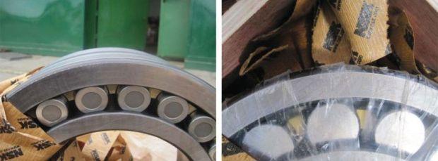 2) Chociaż ogólny wygląd produktów jest podobny, istnieje kilka obszarów, w których łożysko oryginalne (po lewej) i podrobione (po prawej) się różnią - są to m.in wcięcia na wałeczkach.