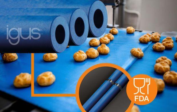 Zgodny z wymogami FDA, nowy trybopolimer iglidur A250, został opracowany specjalnie do zastosowania jako rolki do przenośników taśmowych i jest odporny na zużycie oraz wytrzymuje wysokie szybkości taśmy. (Źródło: igus)