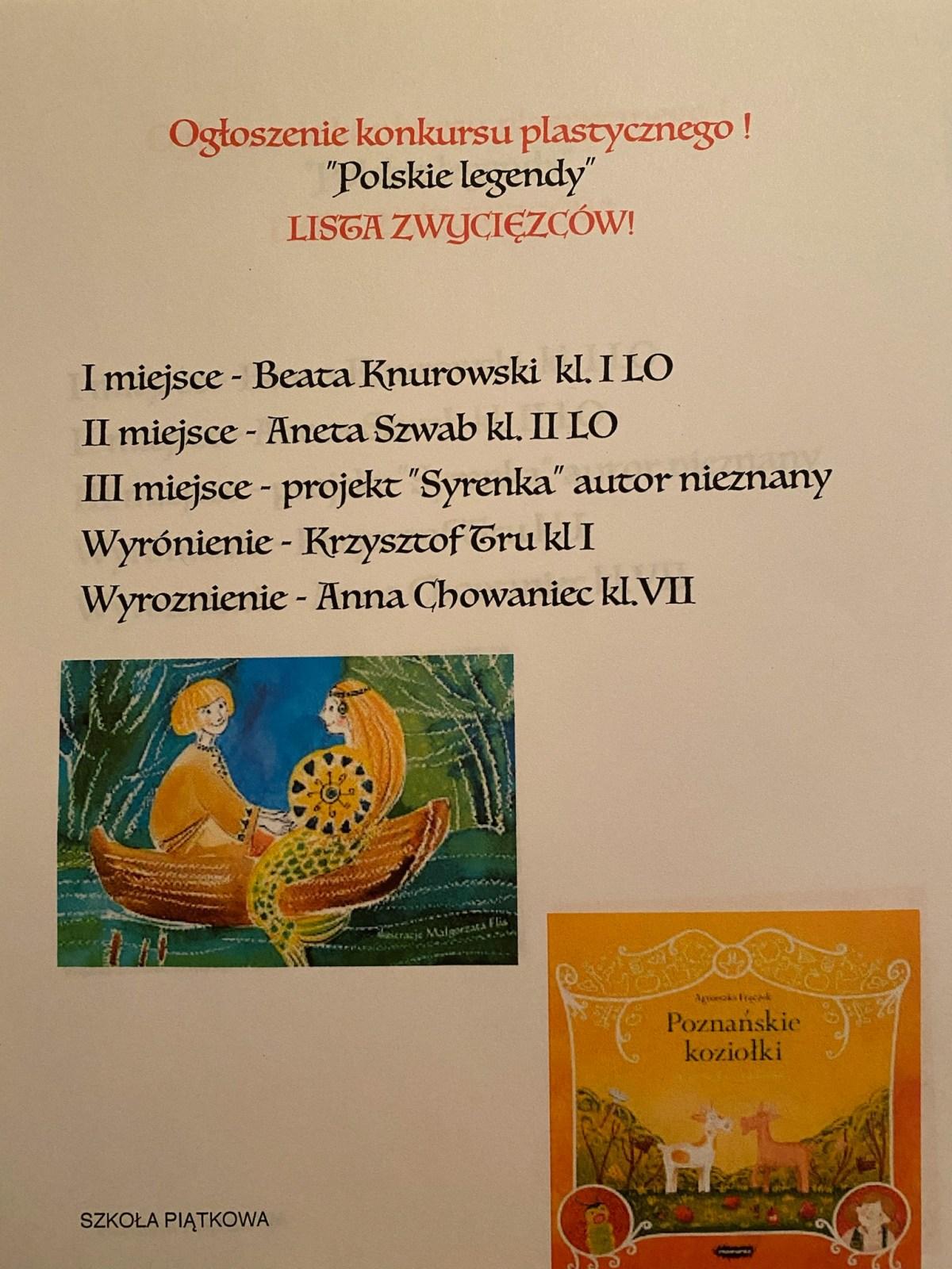 """Konkurs Plastyczny """"Polskie Legendy"""" – zajęcia piątkowe"""