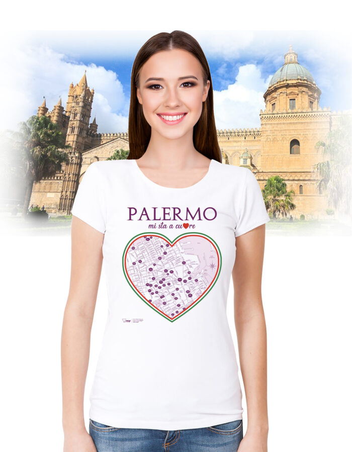 Palermo T-shirt cuore T-map
