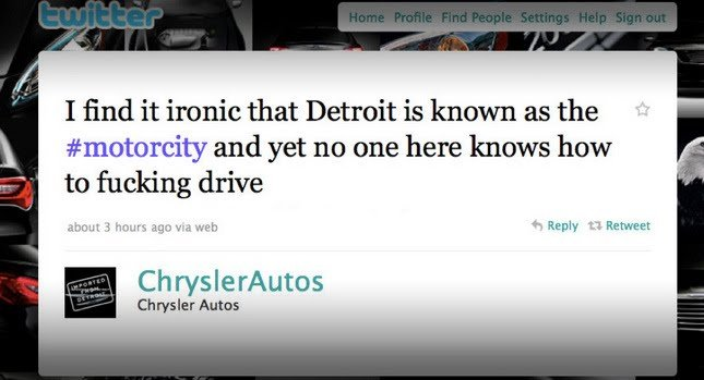 Error de Chrysler en Twitter