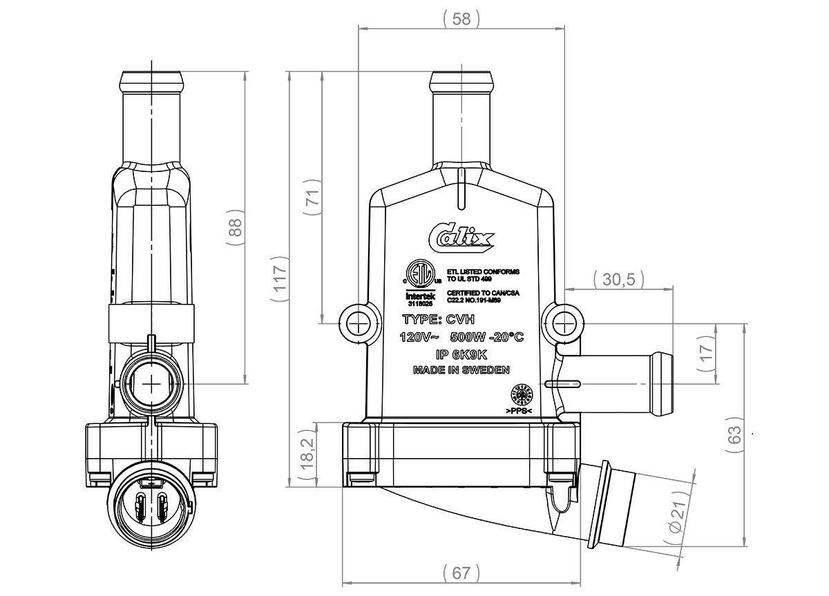 Engine Heater Cvh E101 500w 750w 230v 19mm
