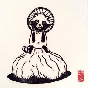 Tanuki san. Impression au baren sur papier washi. 30ex.