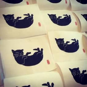 Chat noir. Impression au baren sur papier washi. 50ex.