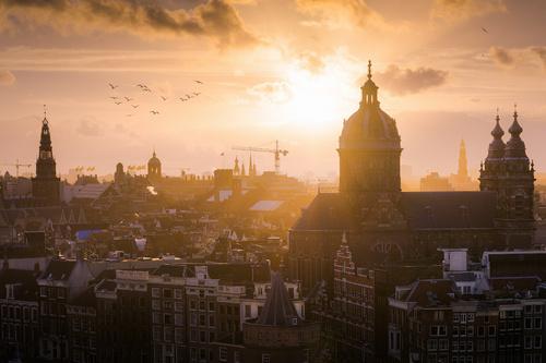 Zonsondergang in Amsterdam