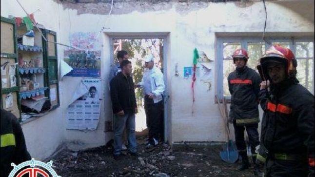 انهيار سقف قسم دراسي على رؤوس التلاميذ بالناظور خلف 13 جريحا