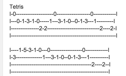 Tablature ukulele debutant tetris