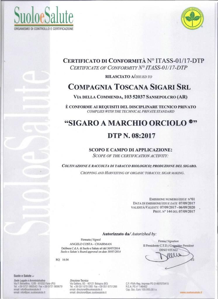 certificazione sigaro orciolo