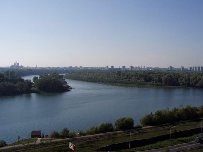 Zusammenfluss von Save und Donau bei Belgrad