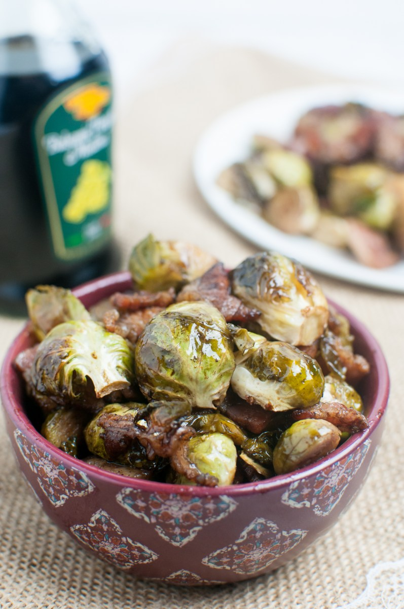 Roasted Balsamic Brussel Sprouts with Bacon
