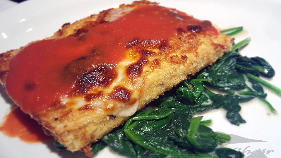 Tofu Parmesan over Garlic Spinach