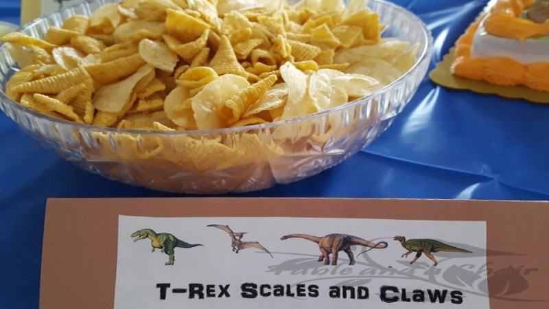 T Rex scales and Claws, Easy food for a dinosaur birthday party