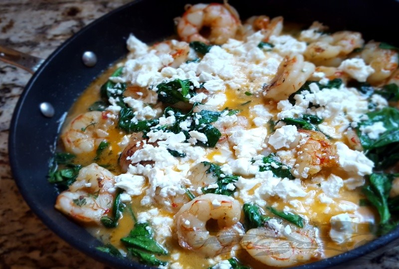 Garlic Butter Shrimp with Spinach and Feta Recipe