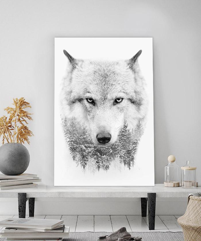 tableau deco loup foret noir et blanc