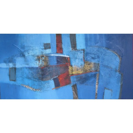 tableau contemporain bleu abstrait horizontal 140x70 cm suwitra