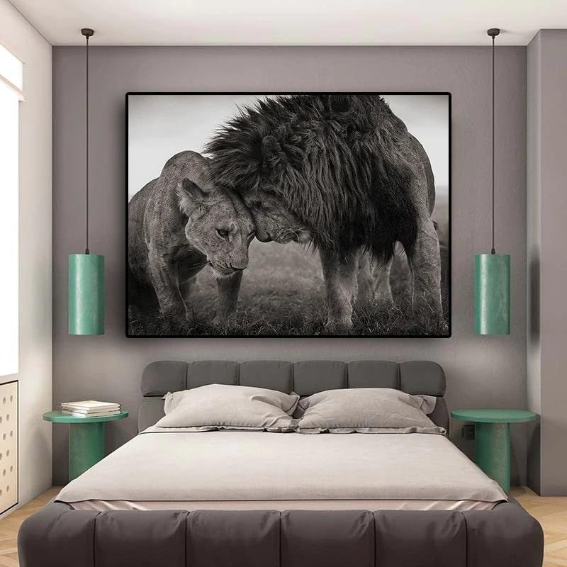 tableau lion lionne noir et blanc