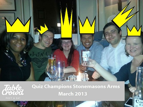 Social Dining Quiz Champions March 06th – Table Crowd Blog