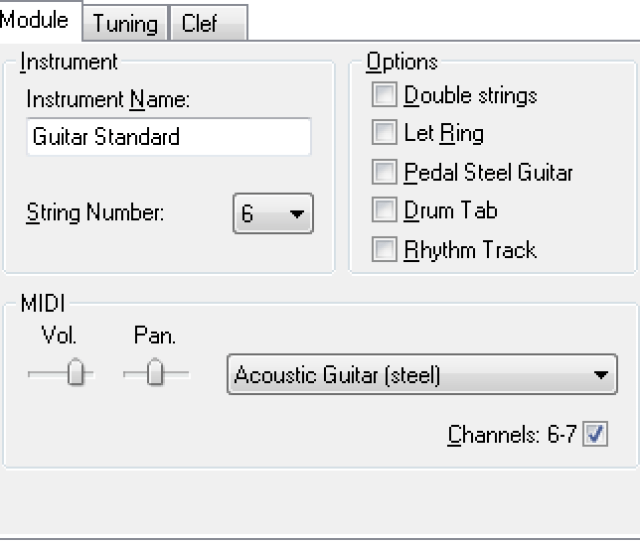 When The Dialog Is First Opened The Module Tab Is Displayed This Is Where You Actually Create The Module Destined To Contain The Tablature You Will