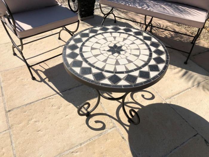 table jardin mosaique ronde 60cm ceramique blanche losange 1 etoile ardoise