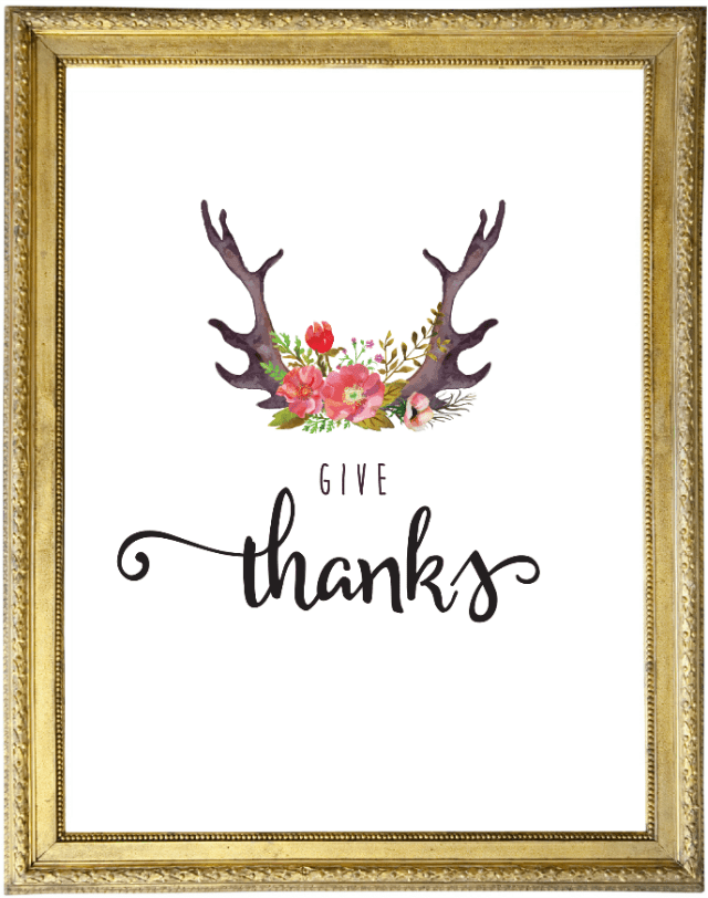 I'm loving this Thanksgiving printable combining antlers and flowers!