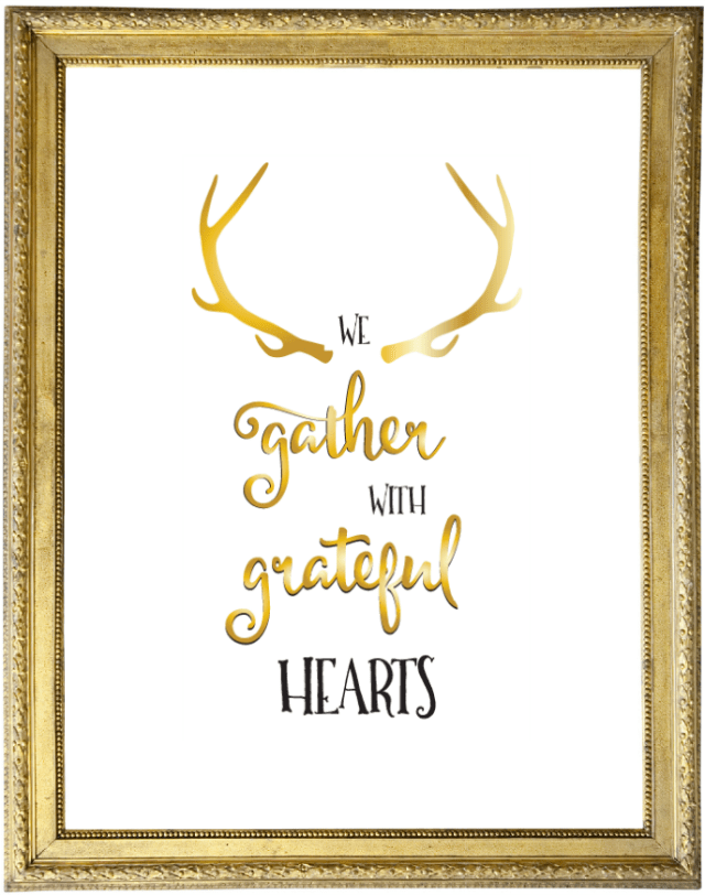 We Gather with Grateful Hearts Printable. Simple and elegant!