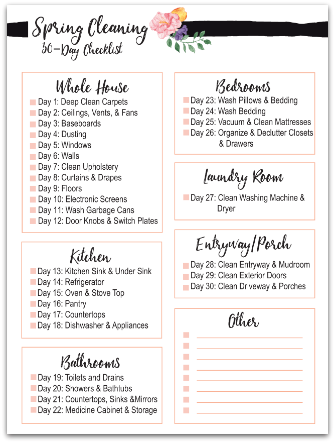 picture relating to Spring Cleaning Checklist Printable named 30 Working day Spring Cleansing Record Cost-free Printable
