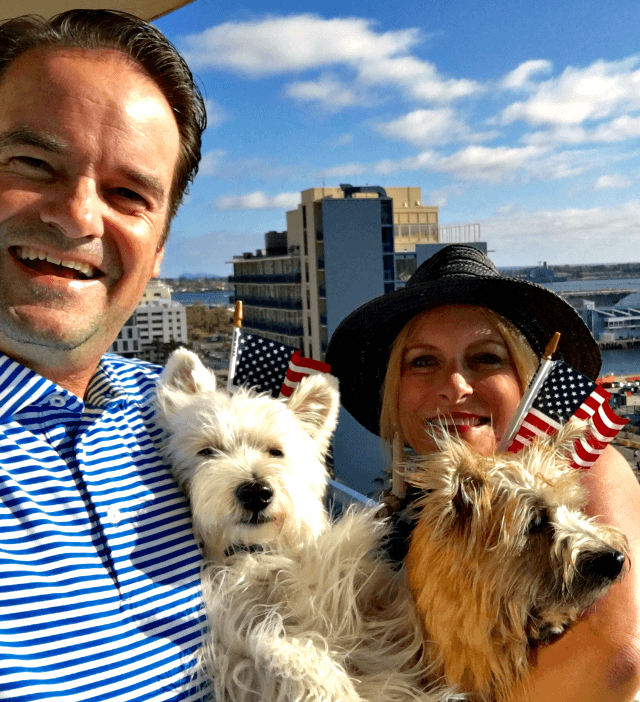 Celebrating Independence Day with our pups in San Diego. TablerPartyofTwo.com